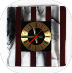 20cm square red and black-clear streaky stripes clock